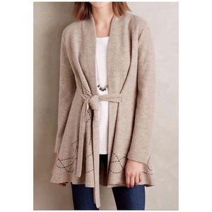 Nthropologie •embroidered boiled wool sweater coat